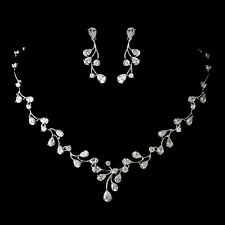 Wedding Jewelry Set Bridesmaid Antique Silver Cz Crystal Necklace Earring