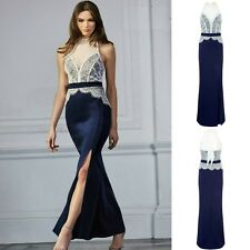 Sz 10 12 Blue White Lace Sleeveless Sexy Formal Cocktail Evening Party MaxiDress