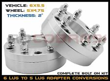 "2 Pc 6 Lug To 5 Lug Wheel Spacers Conversion 6x5.5"" To 5x4.75"" USA Made Bolt On"
