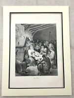 1870 Antique Nativity Scene Print Baby Jesus Manger Stable Christmas Victorian