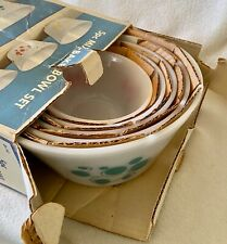 New ListingVtg In Box !  Never Used !  Federal 5 Pc Mix-Bake Bowl Set Atomic Dots Mcm !