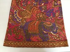 Leonard Fashion Paris Vtg Dress Elephant 60s Mod Indian Bright Knit XS S Wool
