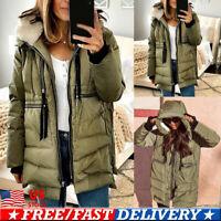 Womens Heavyweight Long Down Parka Jacket Fur Hood Coat Warm Winter Full-Zip USA
