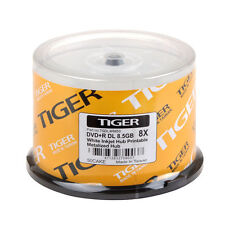 50-PK TIGER Brand 8X White Inkjet Hub Printable DVD+R Dual Layer DL Disc 8.5GB
