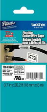 "Brother TZeFX241 3/4"" (18mm) Black on White Flexible tape PT9800, PT-9800PC"