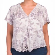 Lucky Brand Grey Floral Print Button Down Tie Front Blouse Top Short Sleeves 1X
