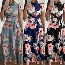 Womens Lady Autumn Slim Fit Short Sleeve Floral Maxi Dress Long Sundress Holiday