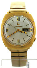 Vintage 1970 Bulova Accutron 14K Yellow Gold Day Date Watch Cal 2182 Tuning Fork