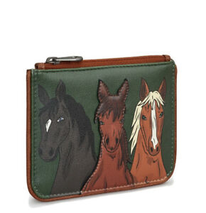 Genuine Leather Small Purse Zip Top with RFID Protection by Yoshi. Horse Print