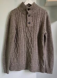 """FAT FACE Mens Grey Brown Wool Blend Cable Knit Chunky Jumper L 40-42"""" Chest VGC"""