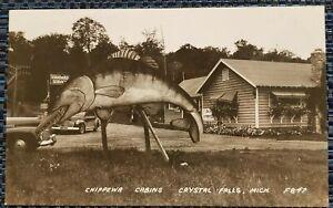Mint Vintage Chippewa Cabins Vintage Car Crystal Falls Michigan RPPC