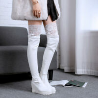 Womens Over Knee Boots Lace Wedge High Heel Round Toe Platform Shoes Pull On