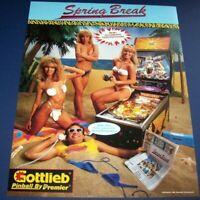 Spring Break Pinball FLYER Original Gottlieb Premier 1987 Women On Beach Artwork