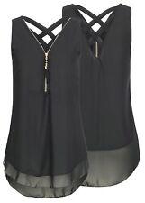 Sexy Womens Summer Chiffon Sleeveless Vest Shirt Blouse Ladies Top Size 6-22