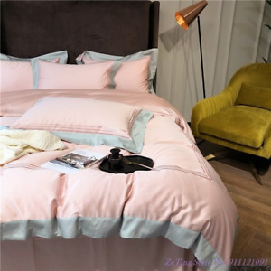 Bedding Set 4pcs Nordic Luxury Style Long-staple Cotton Embroidery Quilt Cover