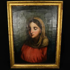 """ANTIQUE BAROQUE OIL PAINTING ON CANVAS WITH FRAME """"PORTRAIT OF WOMAN"""" 1600-1700"""