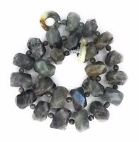 Natural Gray Labradorite Nugget Freeform Faceted Shape Stone Necklace 20''