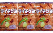 3 BAGS Kasugai Lychee Litchi Lizhi Raichi Gummy Candy Japan 3.54 oz