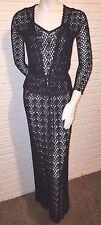 Vintage 60's Maxi Dress floor length crochet Evening formal gown black