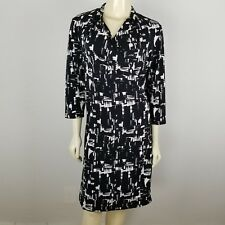 Coldwater Creek black and white faux wrap around polyester spandex dress sz 14