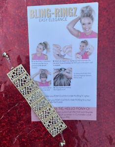 NEW Pony-O Classic BLING RINGZ Gold Square With Diamond Bling Magnetic ~ Dressy