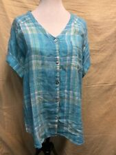 """J JILL LOVE LINEN TAB SLEEVES OVERSIZED TUNIC BLOUSE TOP SIZE SMALL CHEST 44"""""""