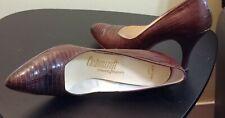 """Vintage Brown Lizard Shoes 3 1/2"""" Heel 10 Aaaa Women's Pumps Schwartz Benjamin"""