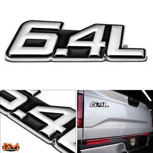 """""""6.4L"""" Polished Metal 3D Decal Silver&Black Emblem For Freightliner/Dodge/Ram"""
