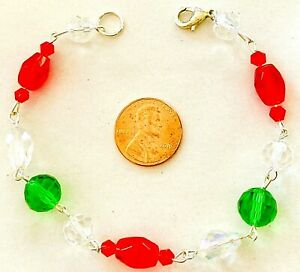 """CHRISTMAS CRYSTAL BRACELET-ALL CRYSTALS-RED/GREEN/CLEAR-8.25""""-HANDCRAFTED-#838"""