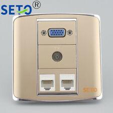 86 Type VGA+TV+Dual RJ45 Cat5e Network Lan Wall Plate Socket Keystone Faceplate