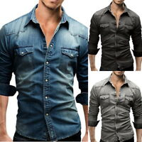 Retro Mens' Fashion Wash Denim Jeans Shirts Long Sleeve Botton Down Shirts Tops
