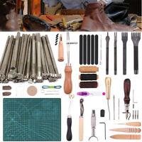 55pc Leather Craft Tools Kit Hand Sewing Stitching Stamping Cutting Punching Set