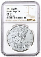 2021 American Silver Eagle T-1 NGC MS69 Brown Label PRESALE