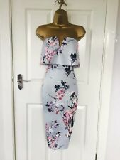 Blue Flower Print Detail Bodycon Wiggle Pencil Midi Dress Size UK--12 Brand New
