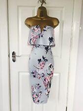 Blue Flower Print Detail Bodycon Wiggle Pencil Midi Dress Size UK16 .: Brand New