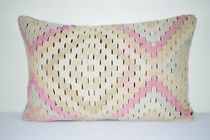 16'' X 24''  Faded Pink  Handwoven Vintage Long and Large Kilim Lumbar Pillow