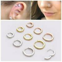 Opal Septum Clicker Nose Ear Ring Hoop Captive Helix Tragus Piercing Jewelry