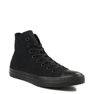 Converse All Star Hi Top Womens & Mens Canvas Trainers Shoes Black Mono