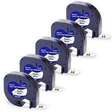 5pk Compatible Dymo Letratag Refill 91331 12mm White Plastic Label Tape Lt 100h