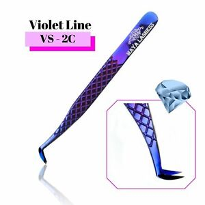 Diamond Tip Coated  Eyelashes Tweezers Precise Fanning🎊 Curved Volume Grip 15D