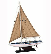 Wooden Model Racing Yacht White Hull Sail Boat 30cm