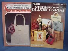 2 Plastic Canvas Assorted Tote Bags Pattern Books Leaflets  Fashion Accessories