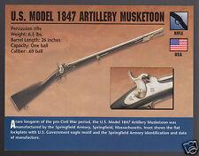 U.S. MODEL 1847 ARTILLERY MUSKETOON .69 Rifle Gun Classic Firearms PHOTO CARD