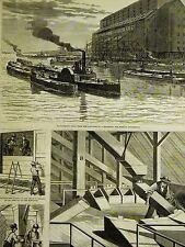New York City WESTERN GRAIN ELEVATOR N.Y. & H.R.R.R. Co. 61 St. 1877 Art Matted