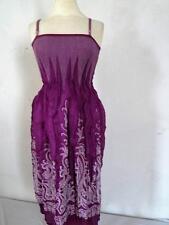 Vintage Soleil Robe Violet / Blanc Extensible Taille UK 10 -14 069 G