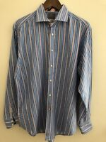 Thomas Dean TD Men's Long Sleeve Blue Striped dress shirt Size Large Flip Cuff