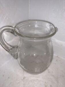 VINTAGE GLASS Embossed Milk Jug..