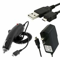 Micro USB Car Charger + Wall Home AC Travel Charger + USB Cable for Cell Phones