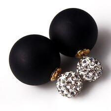 Femme Boucles D'Oreille Clou Double Strass Ball Perle Cristal Piercing Bijoux NF