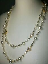 Pearl Necklace Sparkly Reversible Crystals Flower Cream Gold Tone Shiny Long NEW